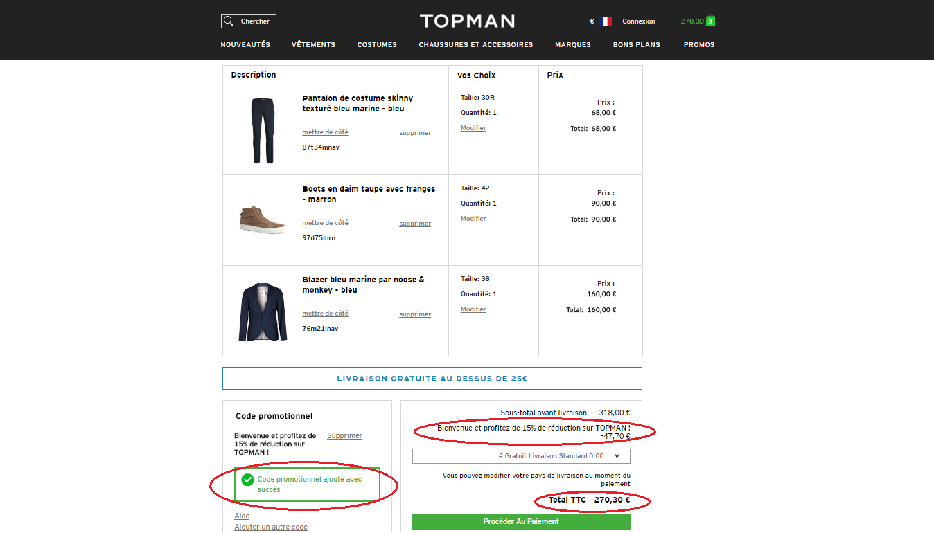 How to Apply Promo Codes at Topman. 1. Add products to your cart at the Topman site. 2. Find a promo code and click Show Code. Then click the Copy button to copy. 3. Go to your cart at the Topman site and continue to checkout. Select the Promo Code box and paste your code. 4. Review your savings and finish checkout.